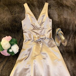 Pretty Champagne Satin Midi Cocktail Dress (Sz 10)